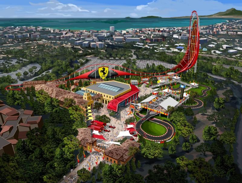So soll der geplante Ferrari Themenpark im PortAventura Resort aussehen