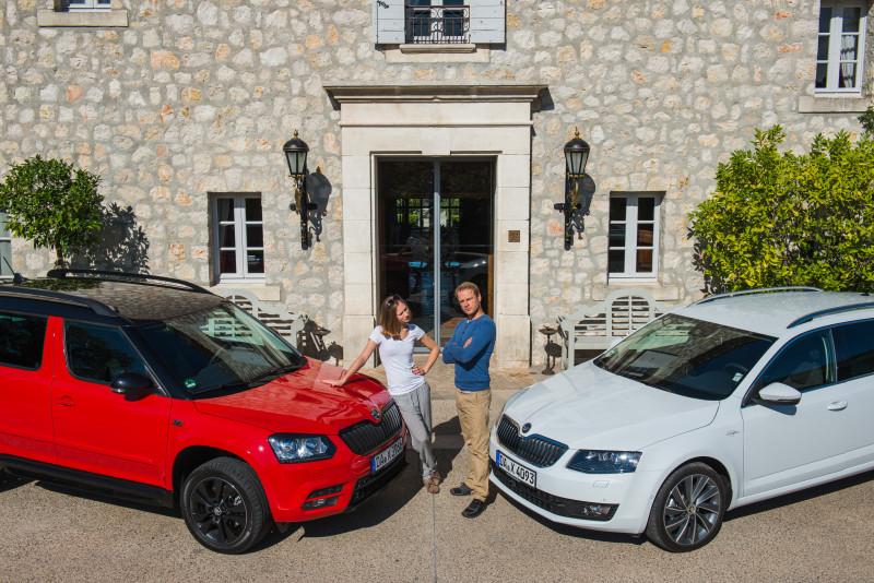 In Monte Carlo nutzten die Schauspieler Alina Levshin und Hinnerk Schönemann die Gelegenheit zu ausgiebigen Testfahrten mit den Modellen Yeti Monte Carlo und Octavia L&K